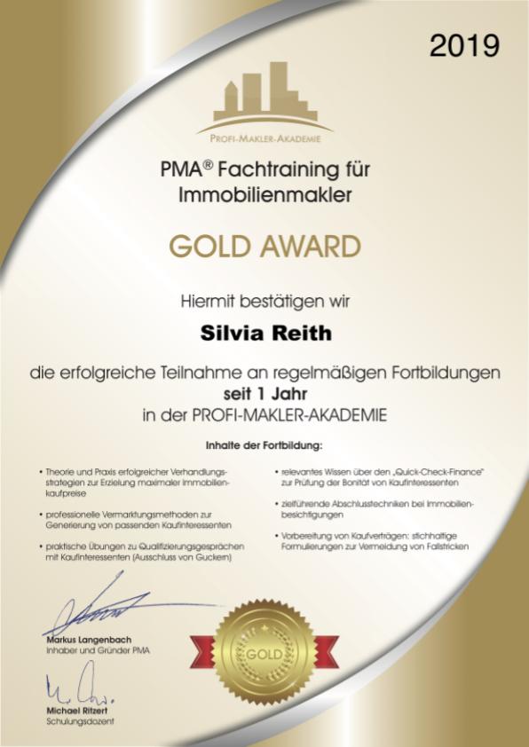 Gold Award 1 Jahr - Fachtraining für Immobilienmakler