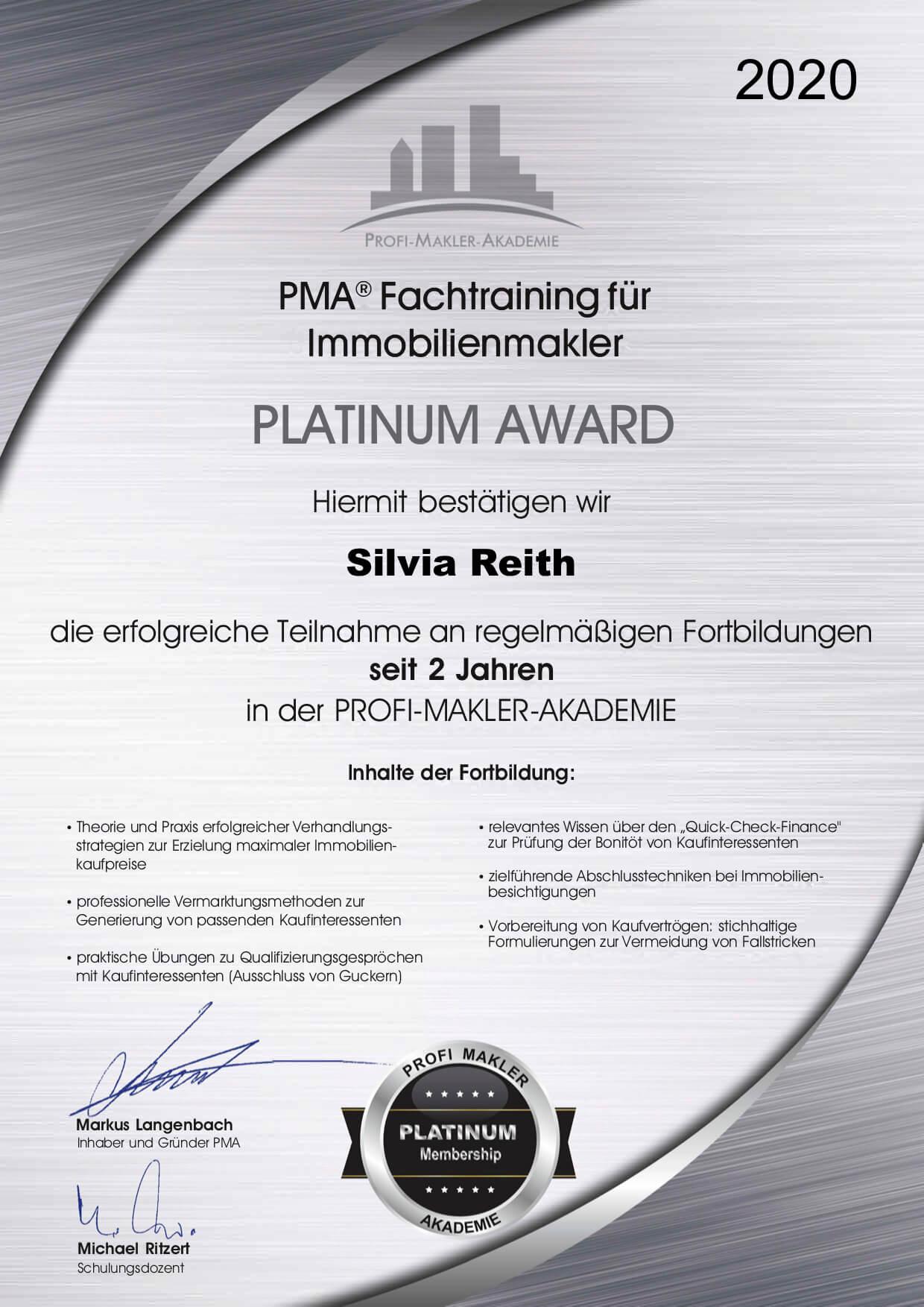 Platinum Award 2 Jahre - Fachtraining für Immobilienmakler