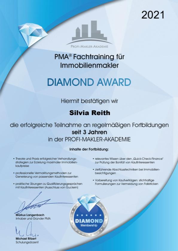Diamond Award 3 Jahre - Fachtraining für Immobilienmakler